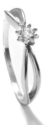 Zlatý prsten se zirkonem P1012  - 1