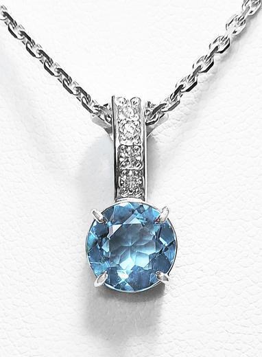 Zlatý přívěšek s topazem a diamanty 023322  - 1