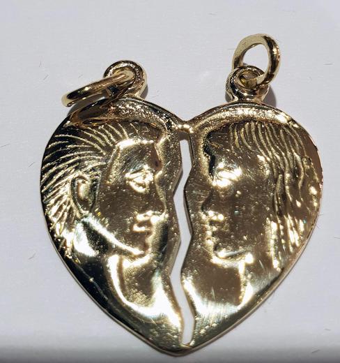 Zlatý přívěšek milenecké srdce P248  - 1