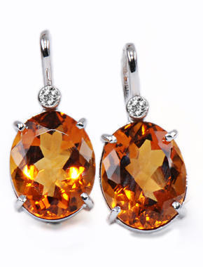 Zlaté náušnice s citríny a diamanty N204