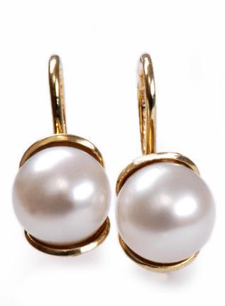 Zlaté náušnice s mořskou perlou N186  - 1