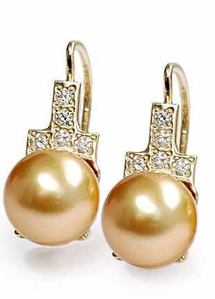 Zlaté náušnice s perlou a diamanty N.291