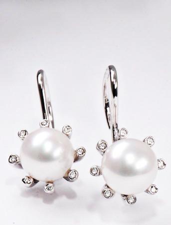 Zlaté náušnice s perlou a diamanty N182  - 1
