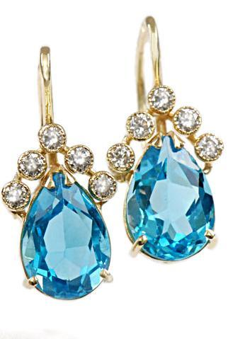 Zlaté náušnice s topazy a diamanty N296