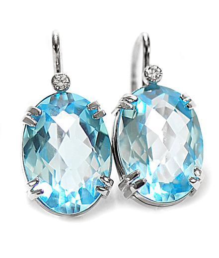 Zlaté náušnice s topazy a diamanty N3004  - 1