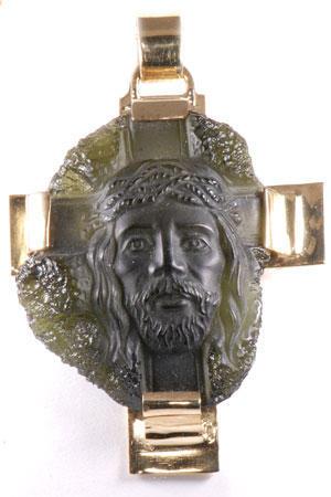 Zlatý přívěšek kříž s Ježíšovou hlavou P40