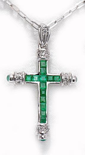 Zlatý přívěšek smaragdový kříž P219