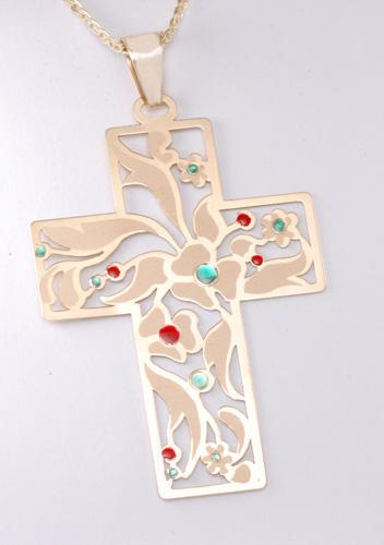 Zlatý přívěšek kříž P134