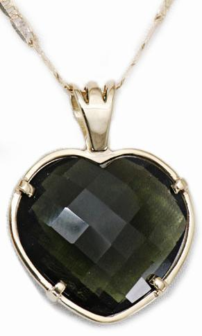 Zlatý přívěšek vltavínové srdce P218