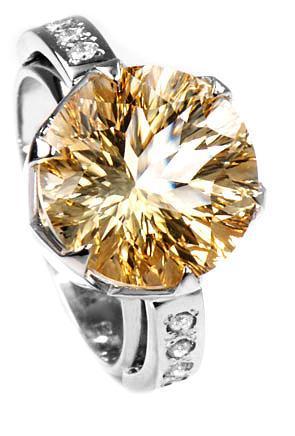 Zlatý prsten s citrínem a diamanty PD528