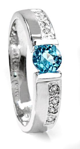 Zlatý prsten s topazem a diamanty PD524
