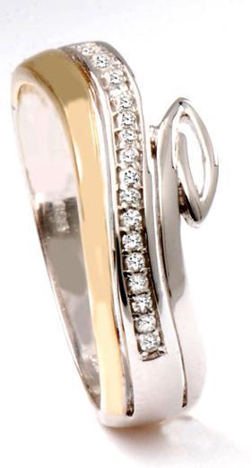 Zlatý prsten s diamanty PD542