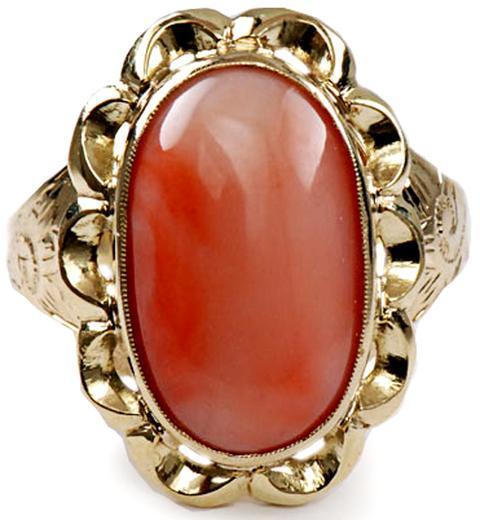 Zlatý prsten s korálem P950  - 1