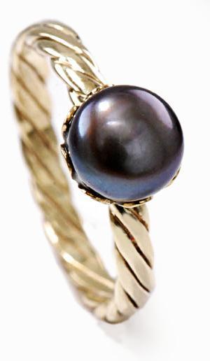 Zlatý prsten s perlou P945