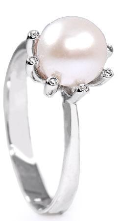 Zlatý prsten s perlou a diamanty PD237