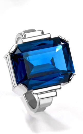 Zlatý prsten se safírem P961  - 1