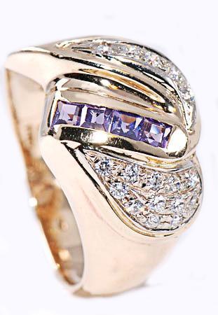Zlatý prsten se zirkony P783  - 1