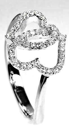 Zlatý prsten diamantová srdce PD197