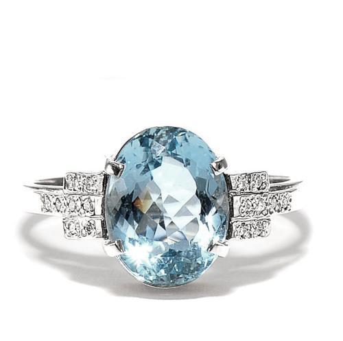 Zlatý prsten s akvamarínem a diamanty PD2002  - 1