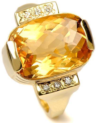 Zlatý prsten s citrínem a diamanty PD476  - 1