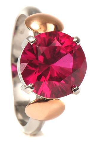 Zlatý prsten s rubínem P1013  - 1