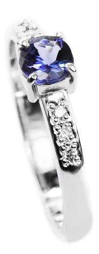 Zlatý prsten se safírem a diamanty 015161  - 1