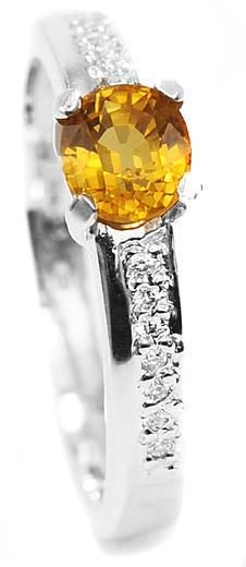 Zlatý prsten se safírem a diamanty PD341  - 1