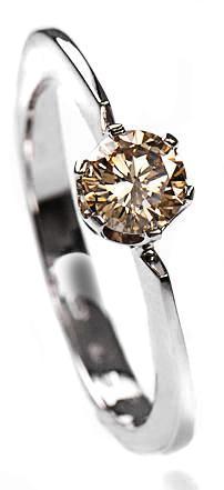 Zlatý prsten s hnědým diamantem PD135