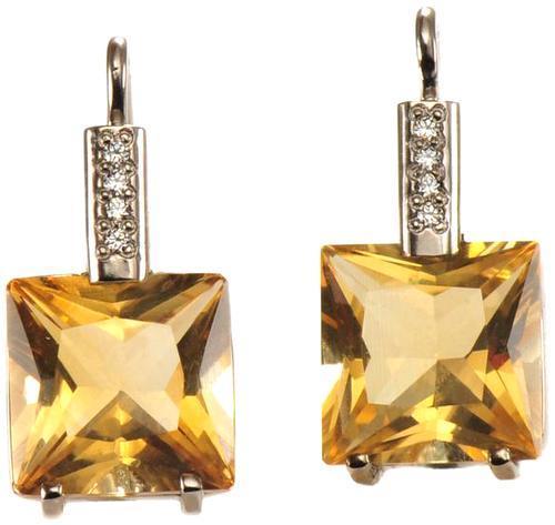 Zlaté náušnice s citríny a diamanty N3014  - 1