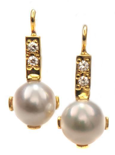 Zlaté náušnice s perlami a diamanty N3022  - 1