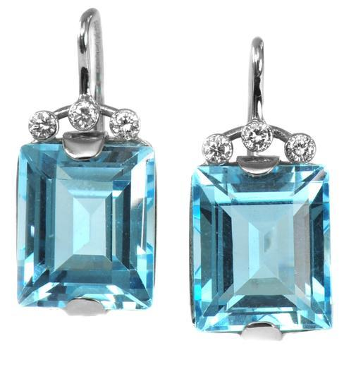 Zlaté náušnice s topazy a diamanty N3010