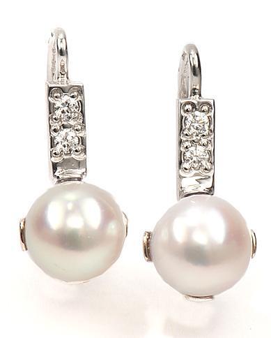 Zlaté náušnice s perlami a diamanty N3026  - 1