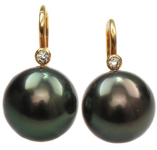 Zlaté náušnice s perlami a diamanty N3025  - 1