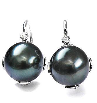 Zlaté náušnice s perlou a diamanty N158  - 1
