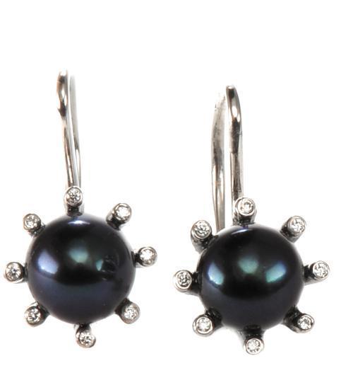 Zlaté náušnice s perlou a diamanty N3013  - 1
