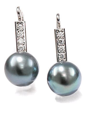 Zlaté náušnice s perlou a diamanty N306