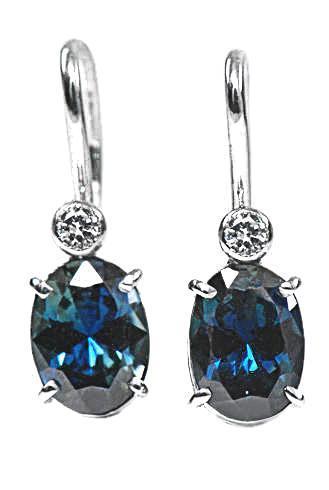 Zlaté náušnice se safíry a diamanty N262