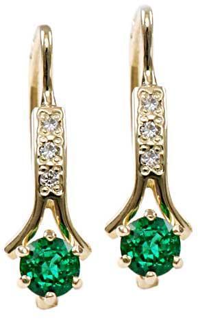 Zlaté náušnice se smaragdy a diamanty N295  - 1