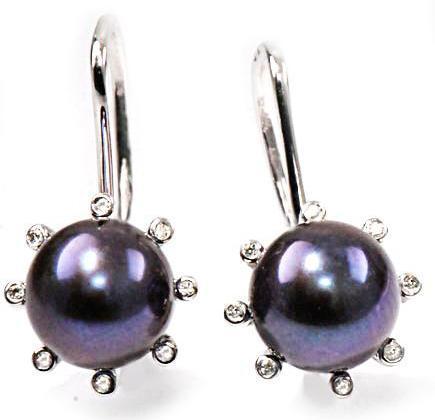 Zlaté náušnice s perlami a diamanty N309