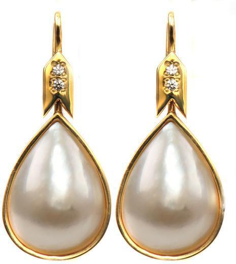 Zlaté náušnice s perlami a zirkony N3027  - 1