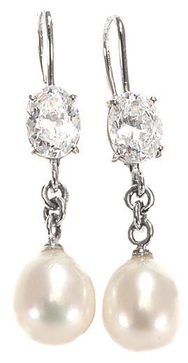 Zlaté náušnice s perlami a zirkony N3030  - 1