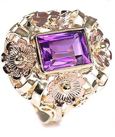 Zlatý prsten s ametystem P308  - 1