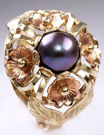 Zlatý prsten s černou perlou P309  - 1
