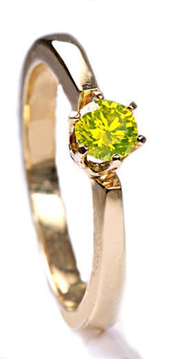 Zlatý prsten s barevným diamantem PD138  - 1