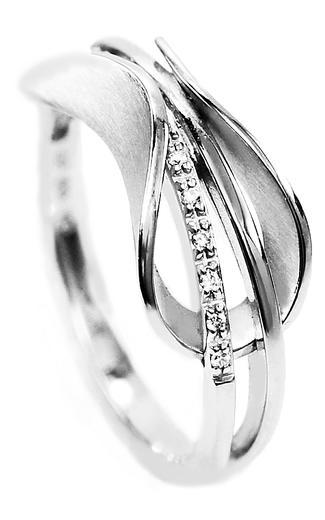 Zlatý prsten s diamanty 039346  - 1