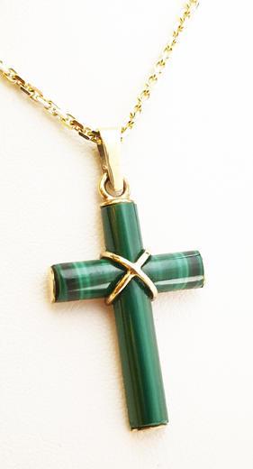 Zlatý přívěšek s malachitovým křížem 021848  - 1