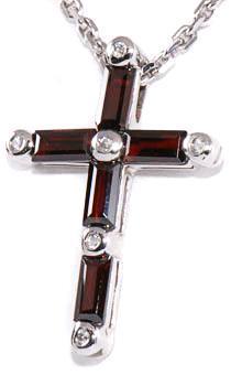 Zlatý přívěšek křížek s granáty a diamanty P50