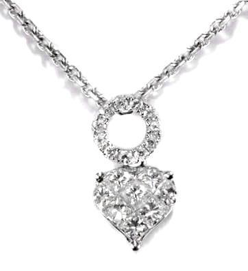 Zlatý přívěšek srdce s diamanty P168