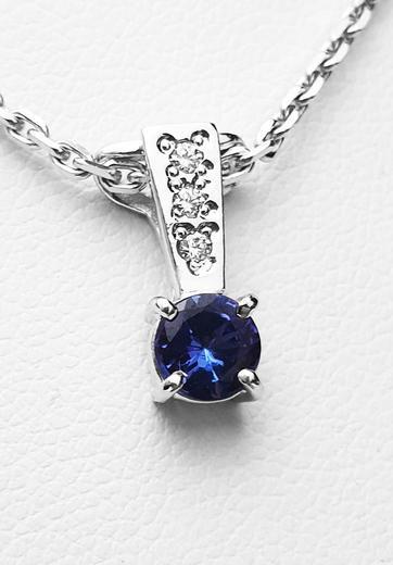 Zlatý přívěšek s tanzanitem a diamanty 023599  - 1