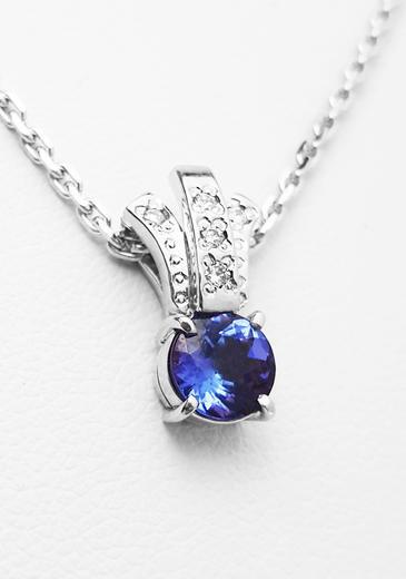 Zlatý přívěšek s tanzanitem a diamanty 023453  - 1